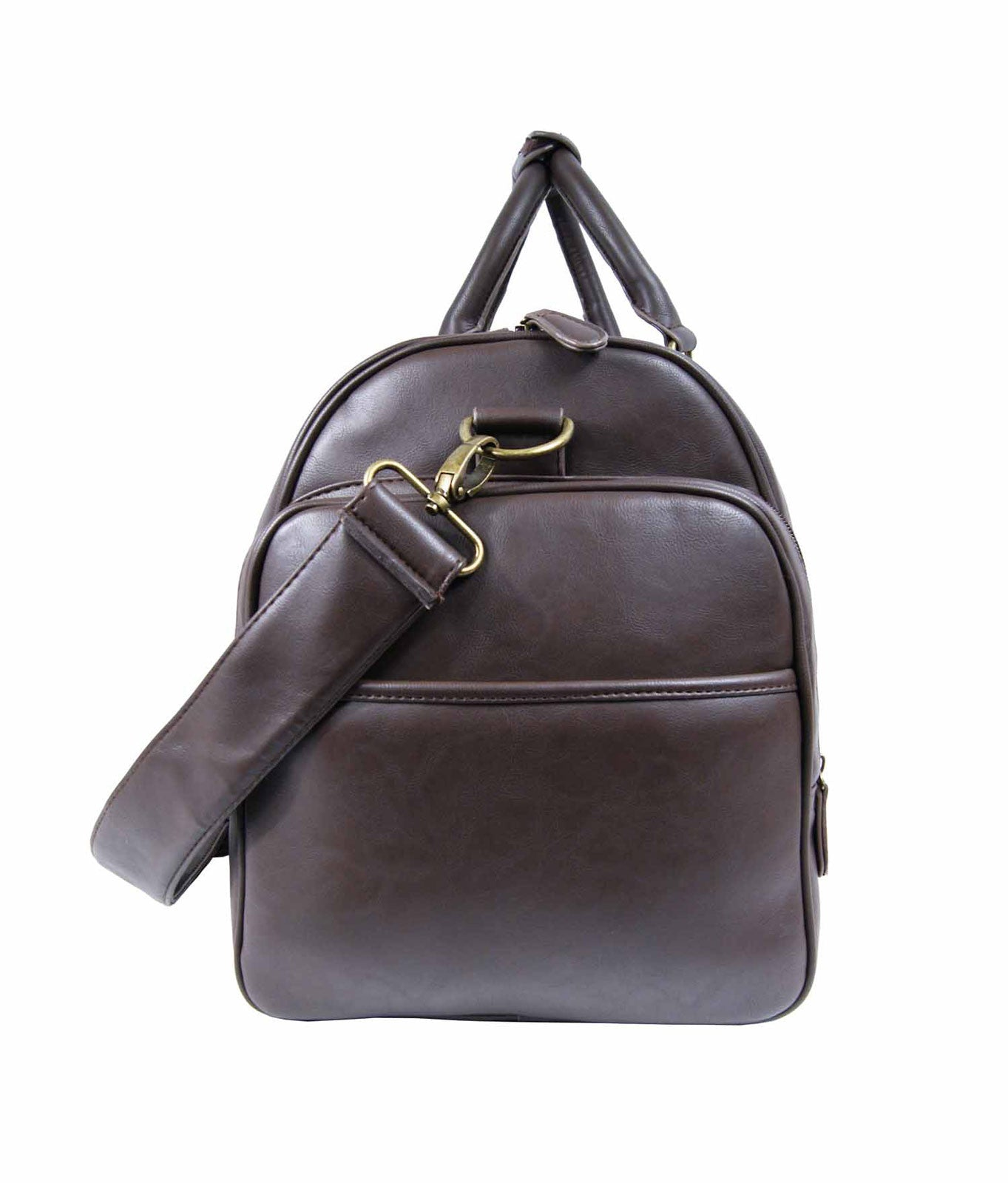 Pu leather large holdall duffel bag Roamlite RL751B Brown end view