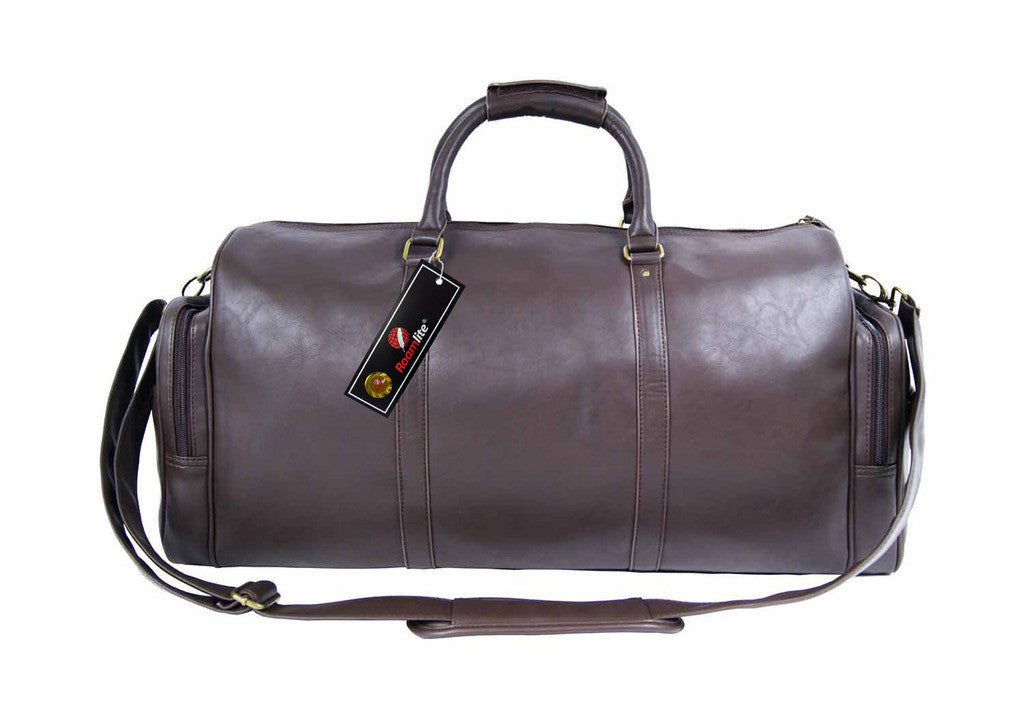 Pu leather large holdall duffel bag Roamlite RL751B Brown frontview