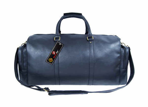 Pu leather large holdall duffel bag Roamlite RL751K Black front view