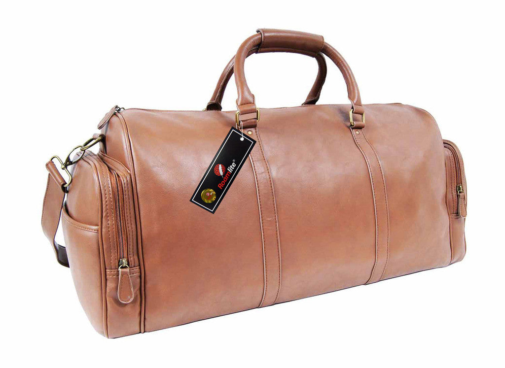 Pu leather large holdall duffel bag Roamlite RL751T Tan side view