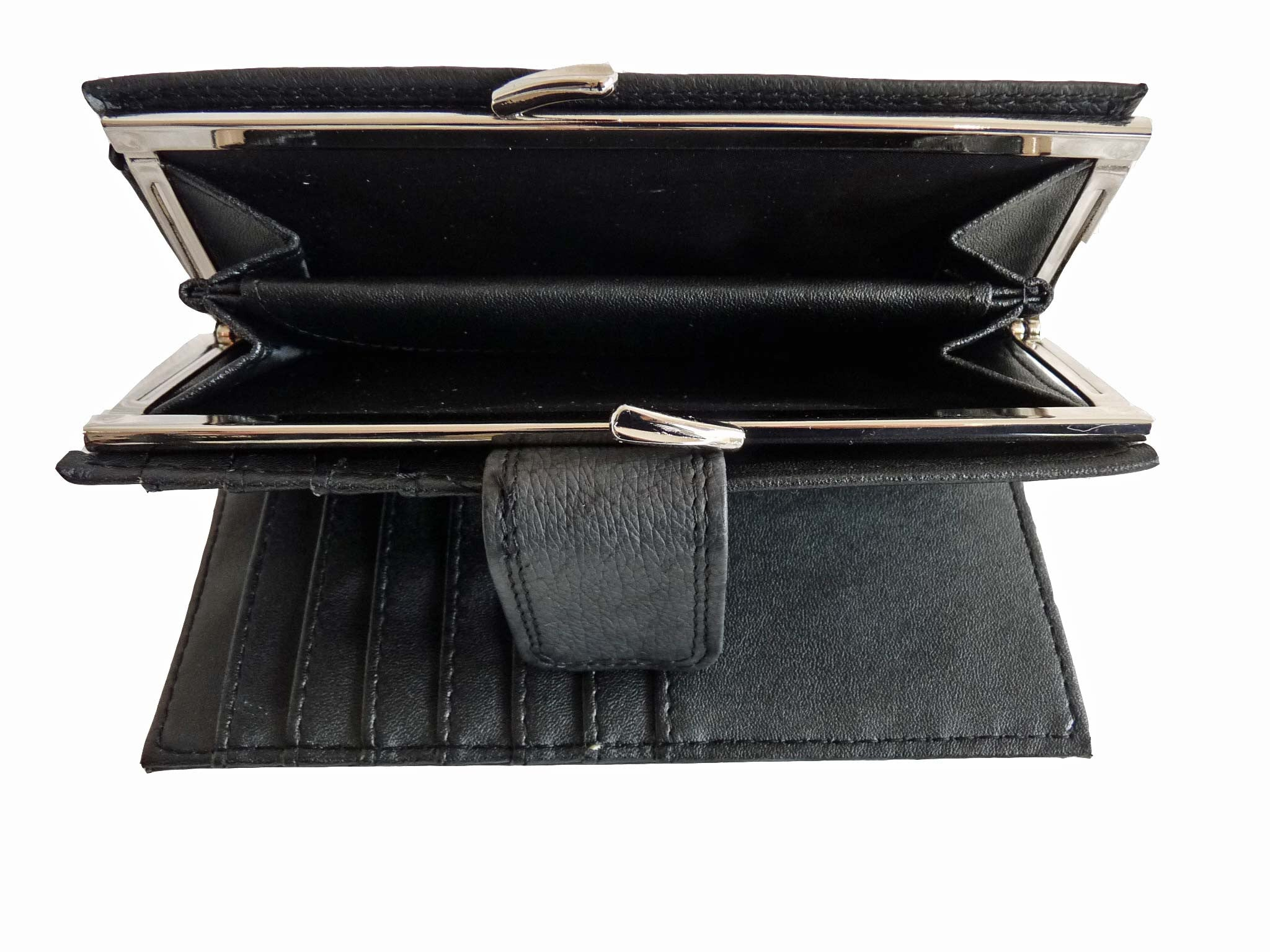 Large Purse Leather Framed Ladies Purses Q209 inside view 3