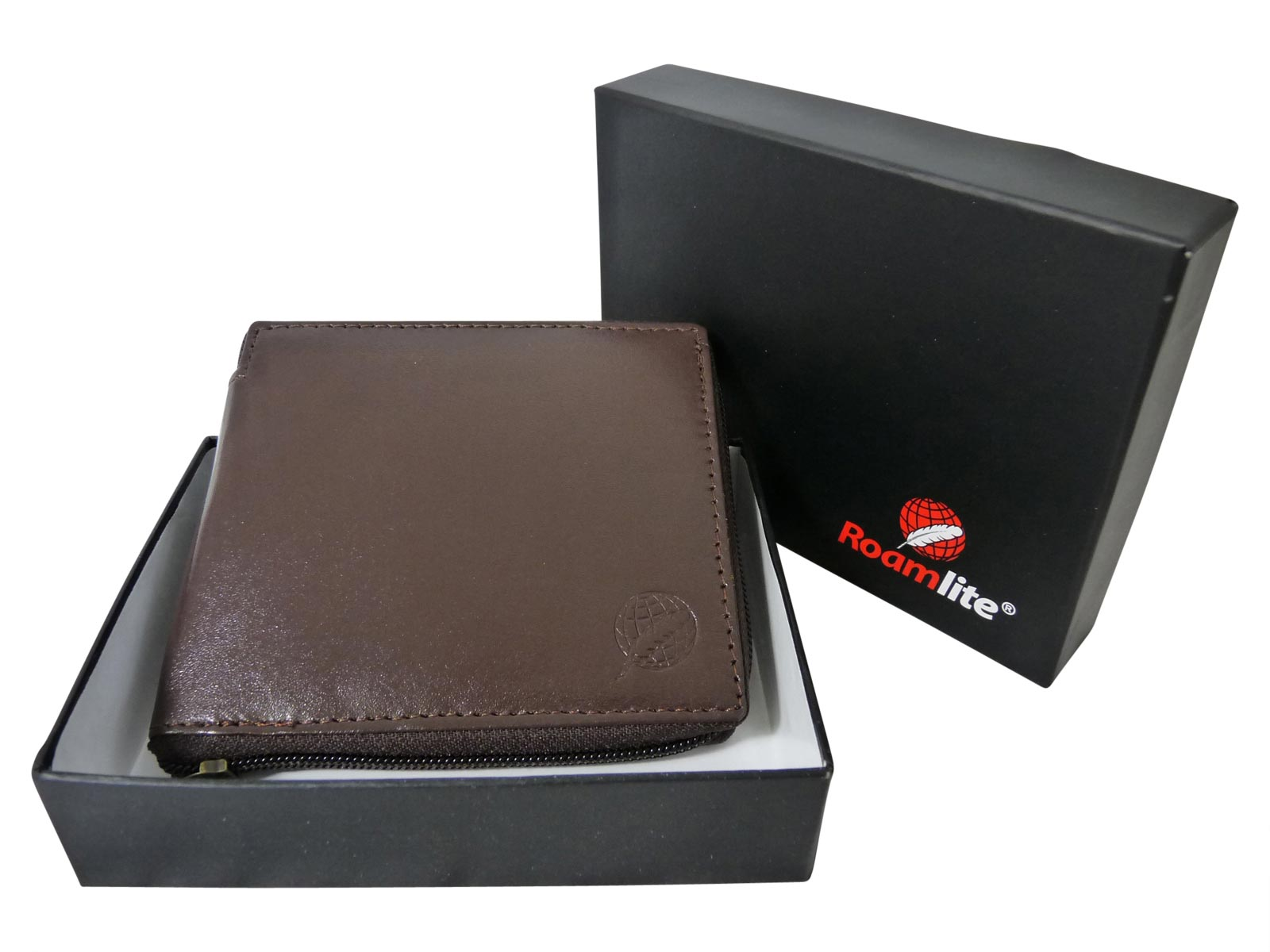 Zip around mens leather wallet RL184DB dark brown gift boxed
