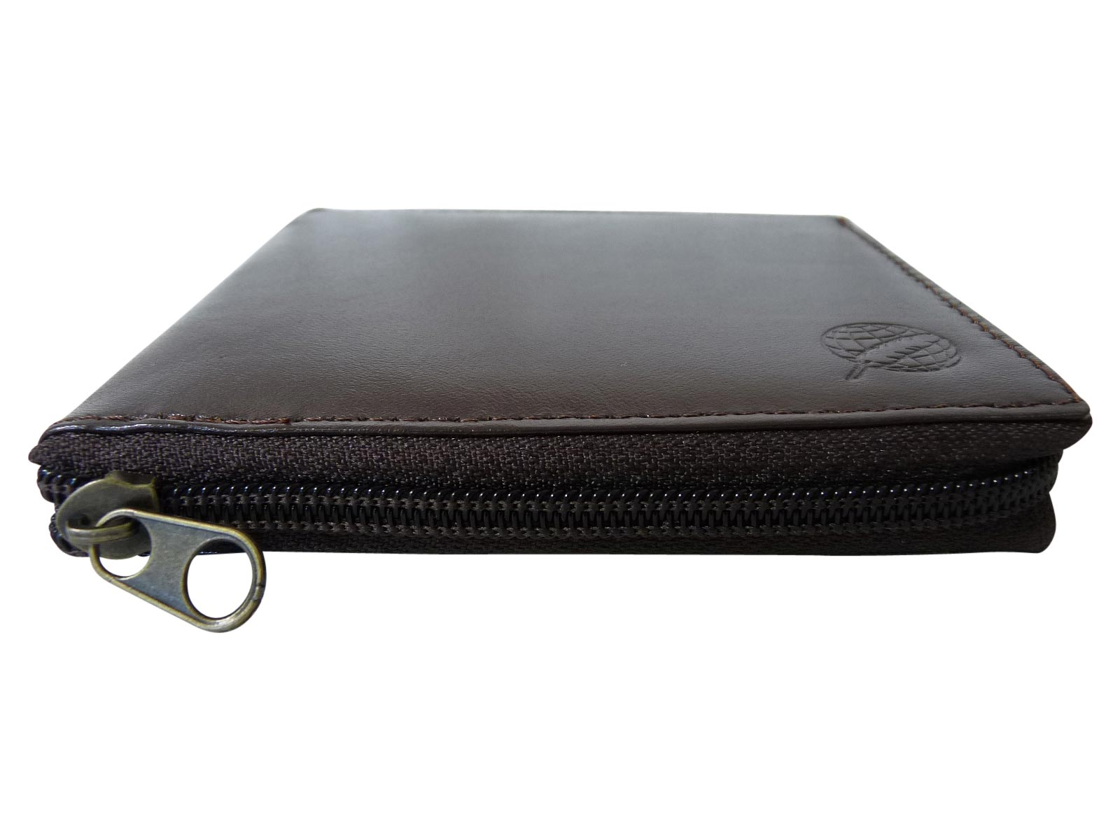Zip around mens leather wallet RL184DB dark brown side view