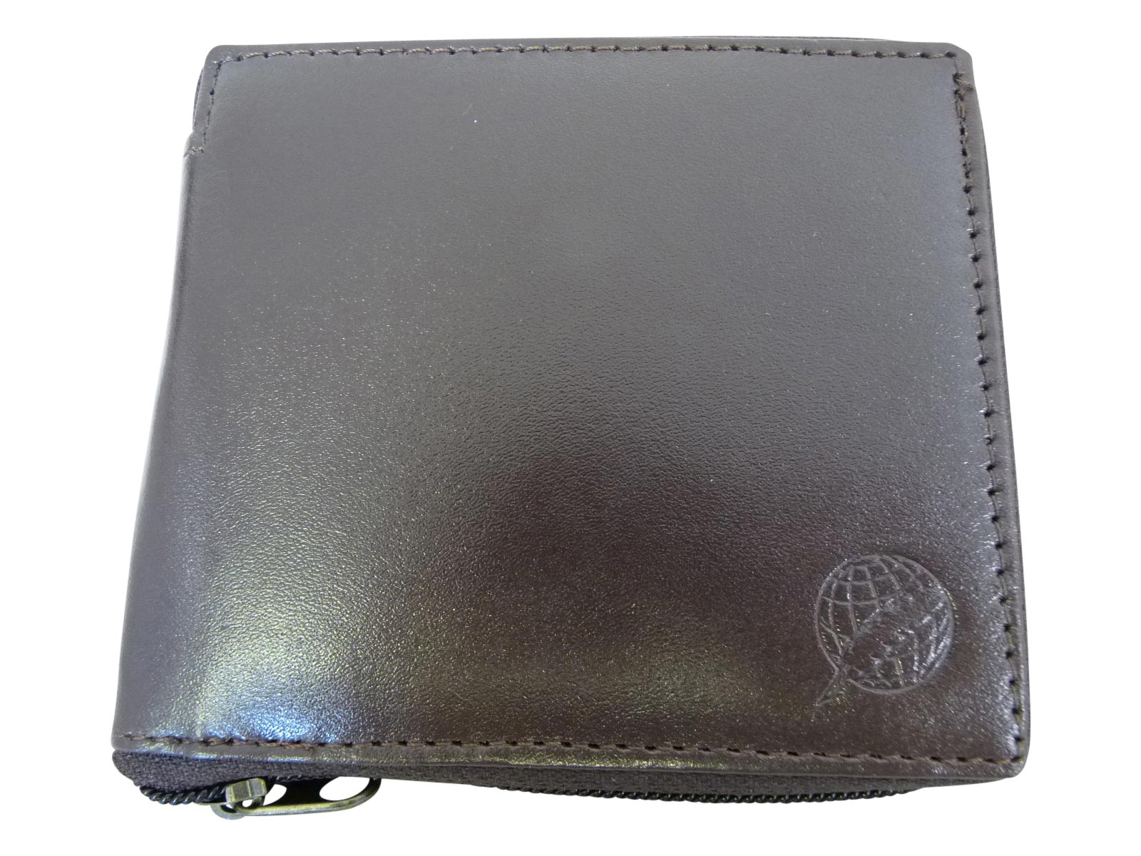 Zip around mens leather wallet RL184DB dark brown front view