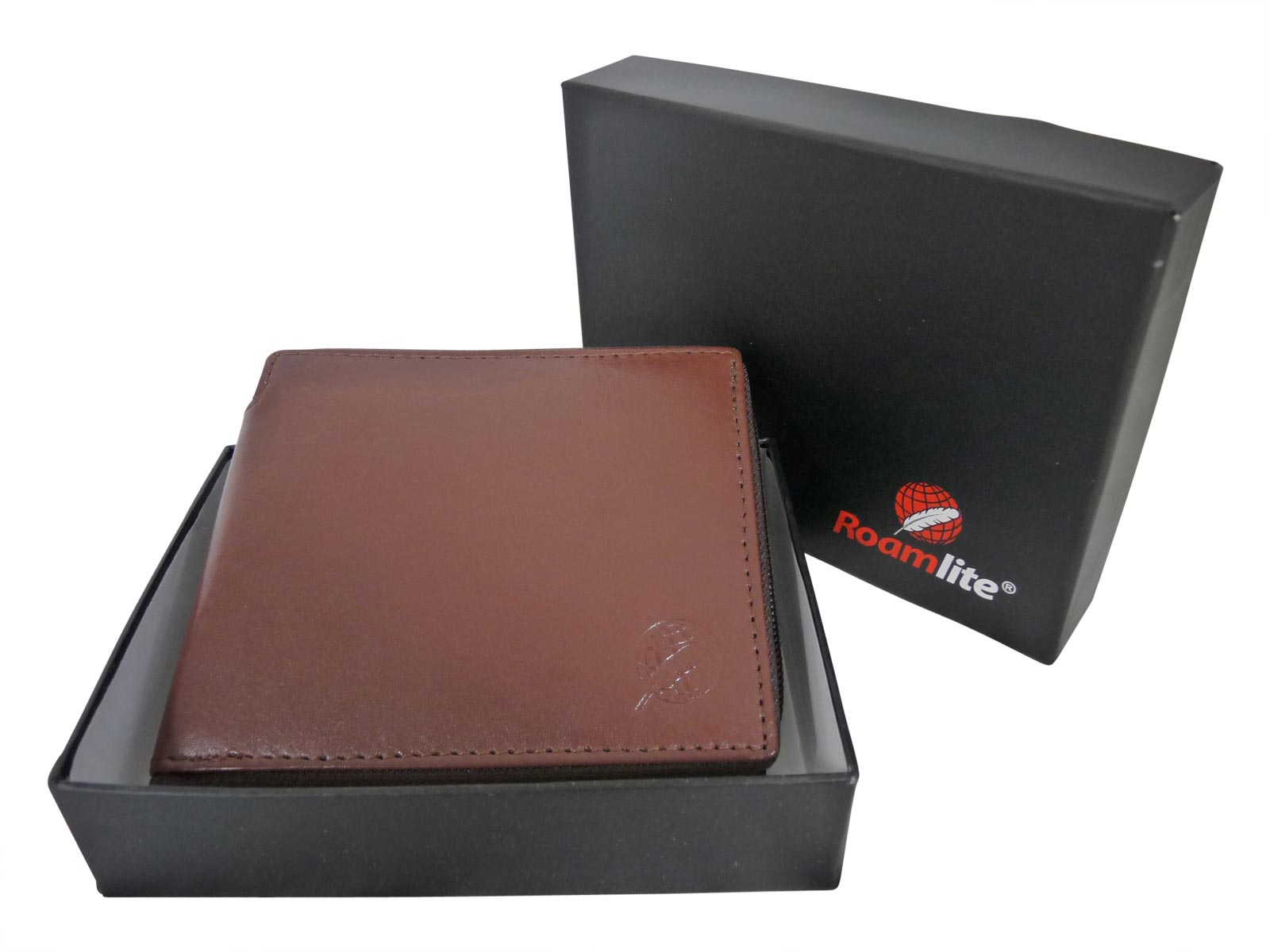 Zip around mens leather wallet RL184LB light brown gift boxed