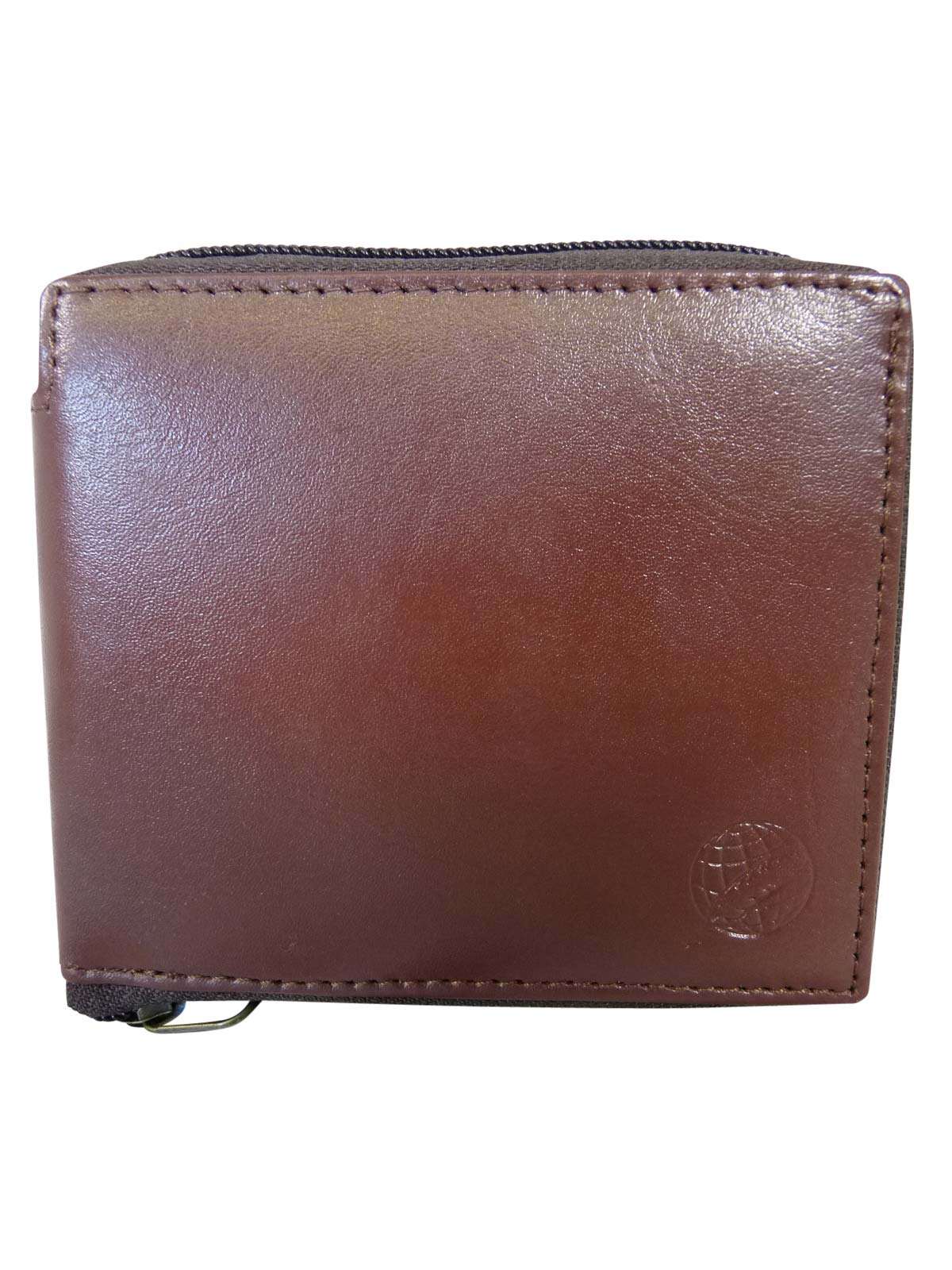 Zip around mens leather wallet RL184LB light brown front view
