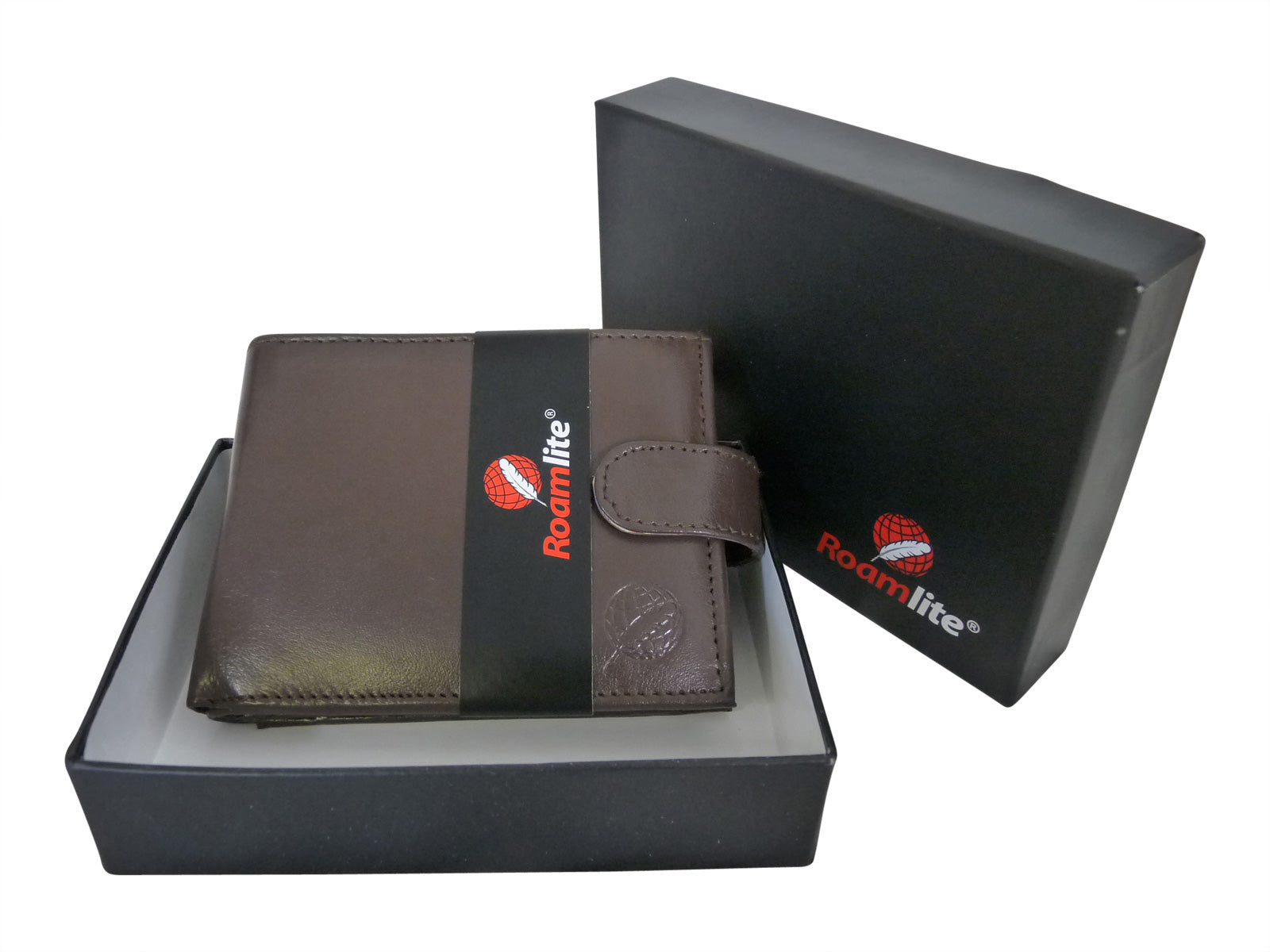 Black Leather Cards Notes and Coins Wallet RL374DBX gift boxed
