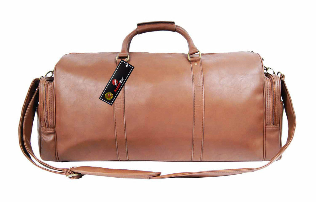 Pu leather large holdall duffel bag Roamlite RL751T Tan front view