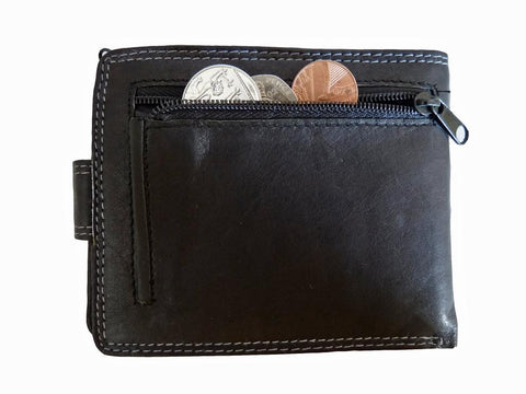 Leather Mens Mans Slim Fold Wallet 10 Credit Cards Zip Coin Pouch RL407K