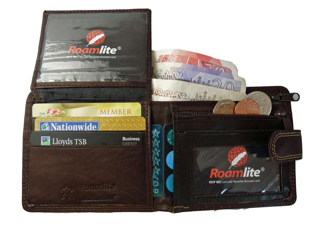 Leather Mens Mans Slim Fold Wallet 6 Credit Cards Zippped Notes RL408B