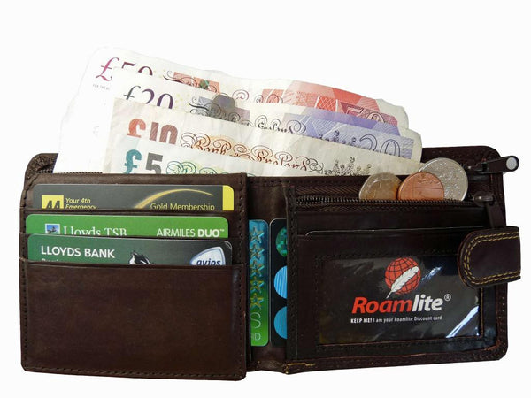 Slim Fold Wallet 6 Credit Cards Zippped Notes RL408DB
