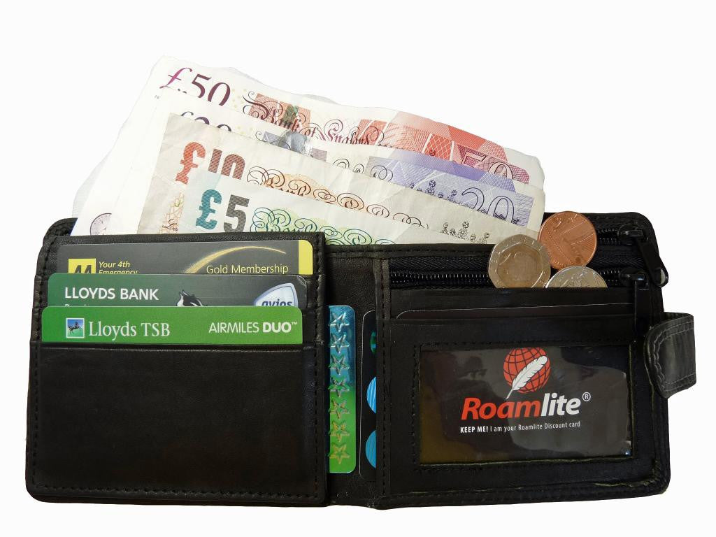 Slim Fold Wallet 6 Credit Cards Zippped Notes RL408K inside view