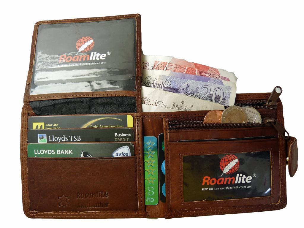 Slim Fold Wallet 6 Credit Cards Zippped Notes RL408LB inside view