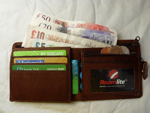 Slim Fold Wallet 6 Credit Cards Zippped Notes RL408LB