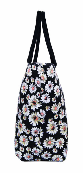 Canvas Shopping Tote Beach Bag Daisy Black QL3151Ke