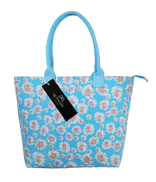 Canvas Shopping Tote Beach Bag Daisy Light Blue QL3151LBf