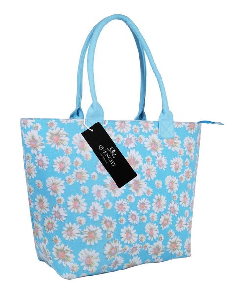 Canvas Shopping Tote Beach Bag Daisy Light Blue QL3151LBs