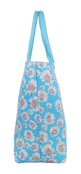 Canvas Shopping Tote Beach Bag Daisy Light Blue QL3151LBe