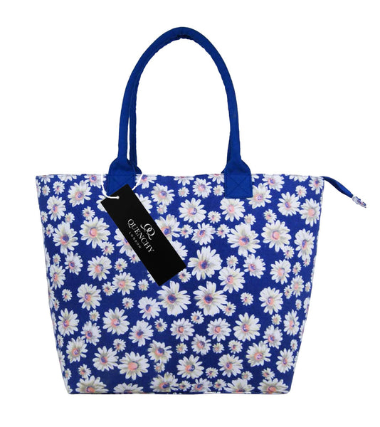 Canvas Shopping Tote Beach Bag Daisy Navy Blue QL3151NBf