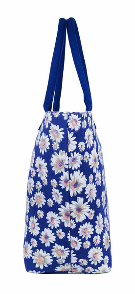 Canvas Shopping Tote Beach Bag Daisy Navy Blue QL3151NBs