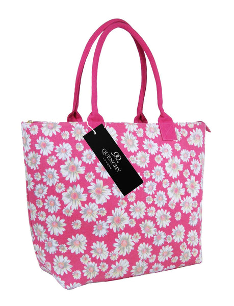 Canvas Shopping Tote Beach Bag Daisy Pink QL3151Ps