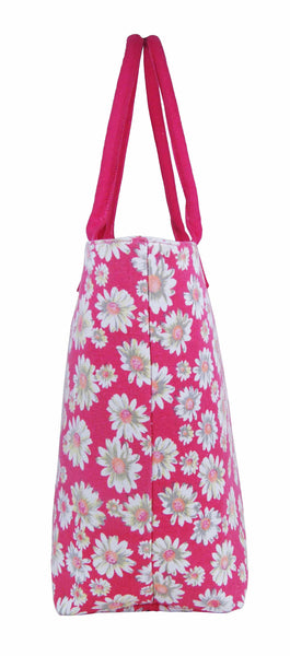 Canvas Shopping Tote Beach Bag Daisy Pink QL3151Pf