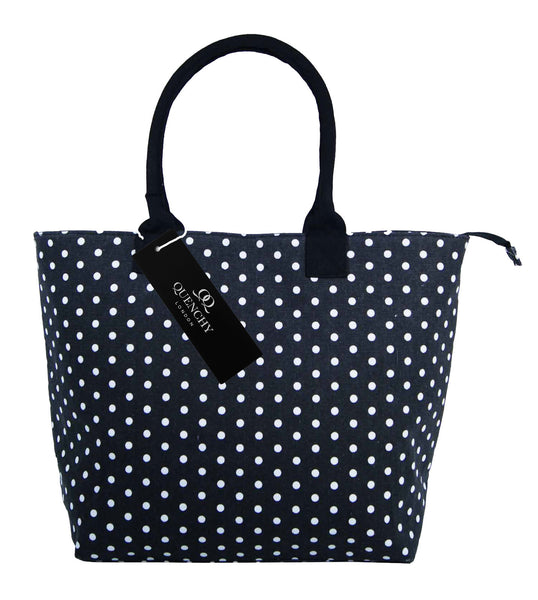 Canvas Shopping Tote Beach Bag Polka Dot Black QL3152Kf
