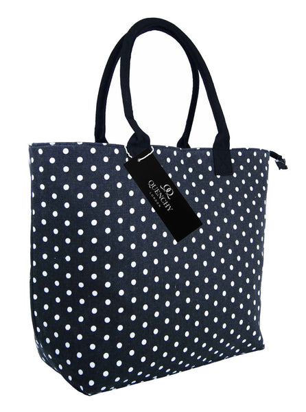 Canvas Shopping Tote Beach Bag Polka Dot Black QL3152Ks