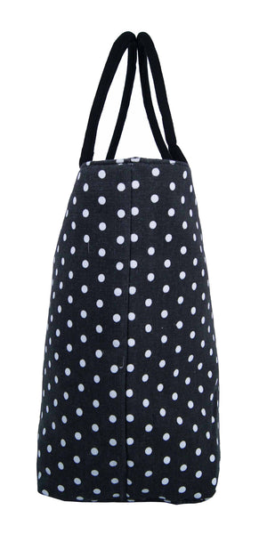 Canvas Shopping Tote Beach Bag Polka Dot Black QL3152Ke