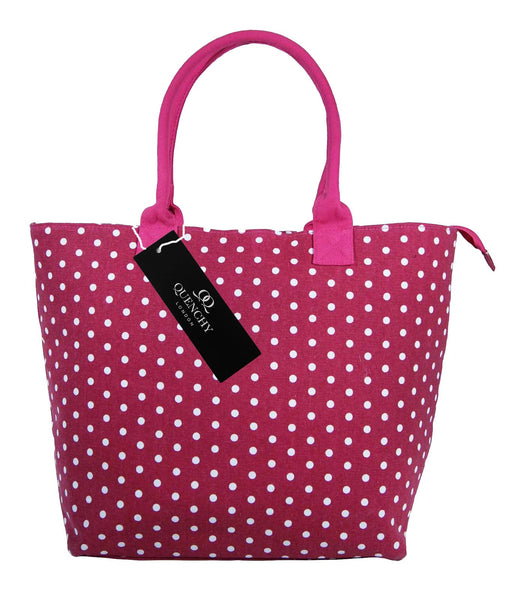 Canvas Shopping Tote Beach Bag Polka Dot Pink QL3152Pf