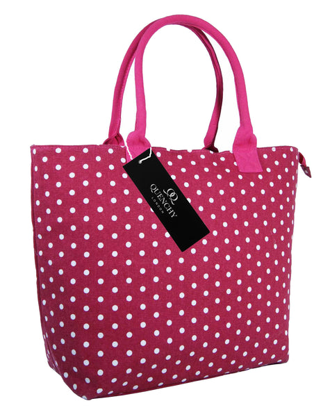 Canvas Shopping Tote Beach Bag Polka Dot Pink QL3152Ps