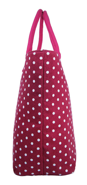 Canvas Shopping Tote Beach Bag Polka Dot Pink QL3152Pe