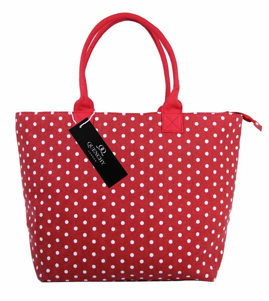 Canvas Shopping Tote Beach Bag Polka Dot Red QL3152Rf