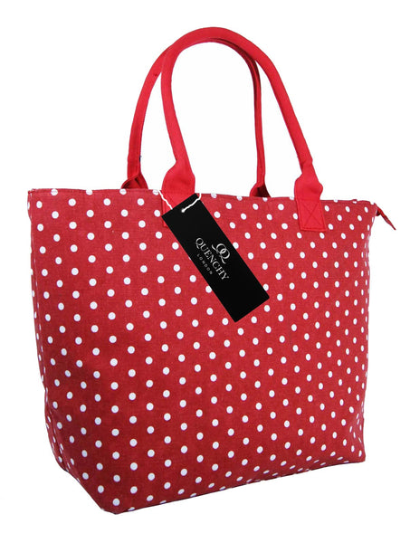 Canvas Shopping Tote Beach Bag Polka Dot Red QL3152Rs