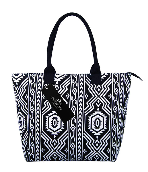 Canvas Shopping Tote Beach Bag Aztec Black QL3154Kf