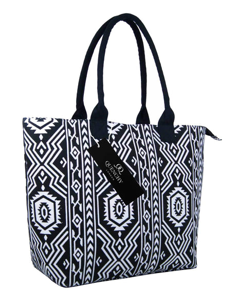 Canvas Shopping Tote Beach Bag Aztec Black QL3154Ks