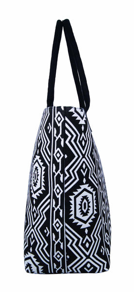Canvas Shopping Tote Beach Bag Aztec Black QL3154Ke