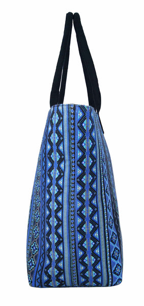 Canvas Shopping Tote Beach Bag Aztec Blue QL3154Ne