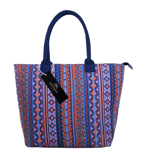 Canvas Shopping Tote Beach Bag Aztec Pink QL3154Pf