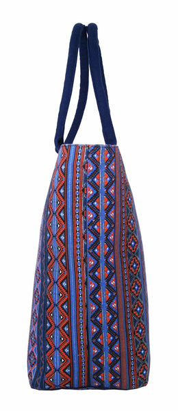 Canvas Shopping Tote Beach Bag Aztec Pink QL3154Pe
