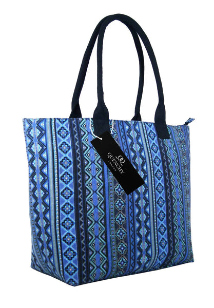 Canvas Shopping Tote Beach Bag Aztec Blue QL3154Ns