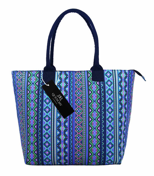 Canvas Shopping Tote Beach Bag Aztec Purple QL3154Puf