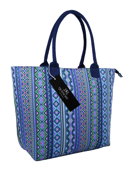 Canvas Shopping Tote Beach Bag Aztec Purple QL3154Pus