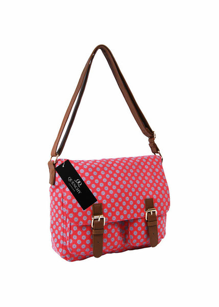 Festival Holiday Satchel in Pink Wall Flower Print Q5155P