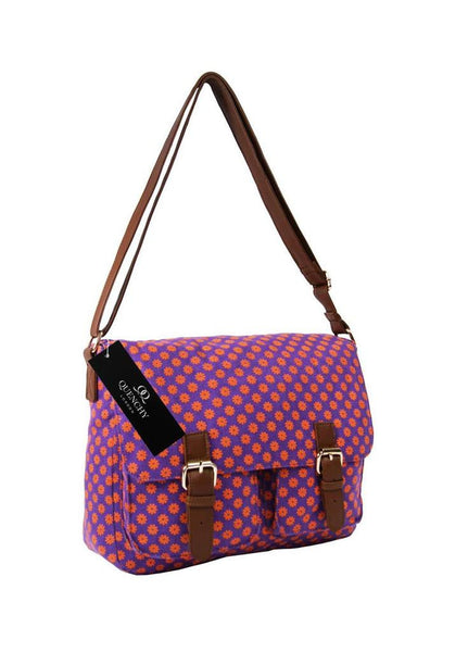 Festival Holiday Satchel in Purple Wall Flower Print Q5155Pu