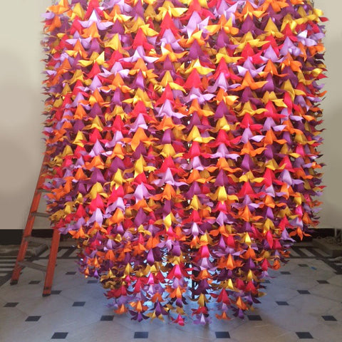 Zoe Bradley Creates Huge Paper Chandelier for Team GB British House in:The final Zoe Bradley Paper Chandelier ready to be raised up,Lighting