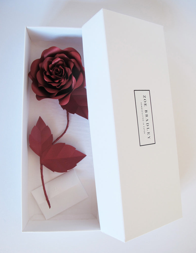 "<font face=""Didot"" color=""black"" >Everlasting Red Paper Rose</font>"