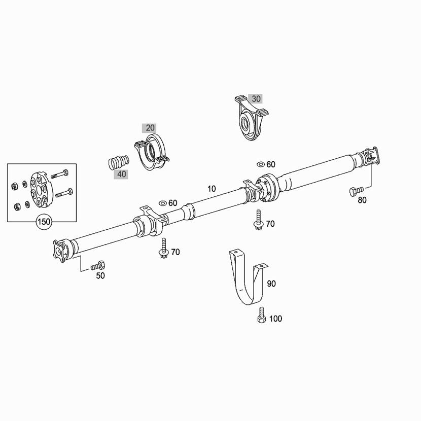 Mercedes Vito Propshaft W639 OE Part No. A6394108506 drawing