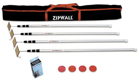 Zipwall SLP 4-Pack, 12' Spring-Loaded Poles
