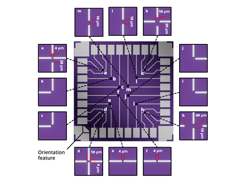 2D material FET test chip electrode layout